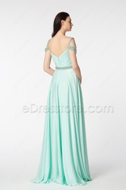 Mint Green Off the Shoulder Beaded Long Prom Dresses