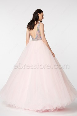 Crystals Backless Pink Ball Gown Prom Dresses Pageant