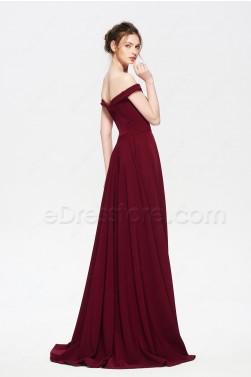 Burgundy Prom Dresses Long Off the Shoulder