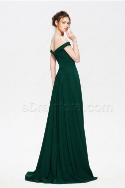 Forest Green Bridesmaid Dresses Off the Shoulder Long