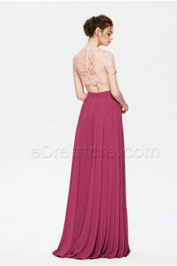 Pink Maroon Two Piece Flowing Modest Prom Dress Long