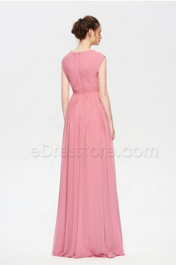 Modest Rose Color Bridesmaid Dresses Cap Sleeves