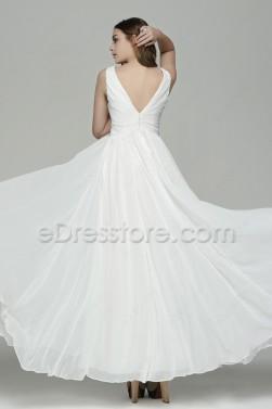 Simple Elegant V Neck Chiffon Beach Wedding Dresses