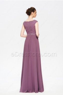 Modest Beaded Dusty Purple Long Bridesmaid Dress Cap Sleeves