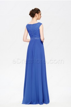 Beaded Modest Royal Blue Bridesmaid Dresses Long