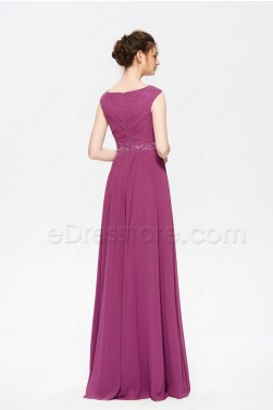Dark Raspberry Modest Formal Dresses Evening Gown