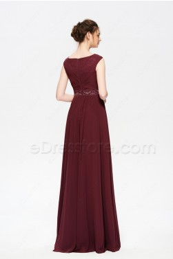 Dark Burgundy Modest Long Prom Dresses Cap Sleeves