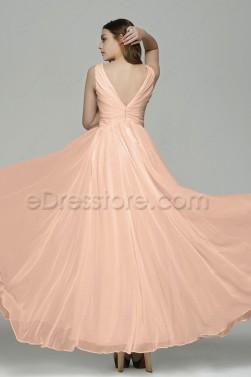 V Neck Peach Color Chiffon Prom Dresses Long