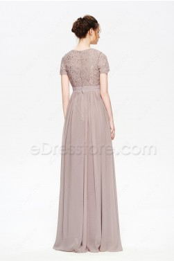Pinkish Grey Modest Bridesmaid Dresses Long with Short Sleeves