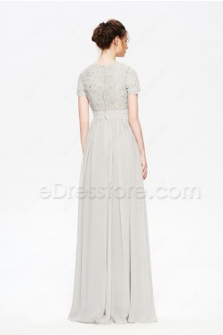 Platinum Grey Modest Bridesmaid Dress with Sleeves