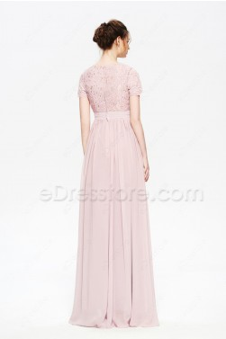 Modest Rose Gold Formal Evening Dresses with Sleeves