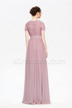 Dusty Rose Modest Mother of the Bride Dress with Sleeves
