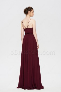 Burgundy Boho Two Piece Bridesmaid Dresses Spaghetti Straps