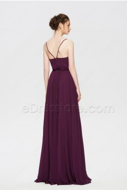 Plum Popover Boho Bridesmaid Dresses Long