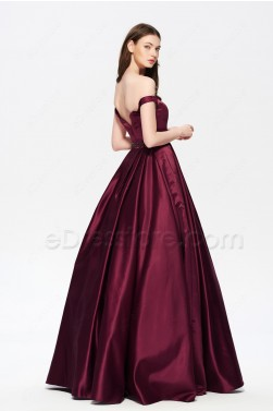 Off the Shoulder Vintage Beaded Burgundy Prom Dresses Long