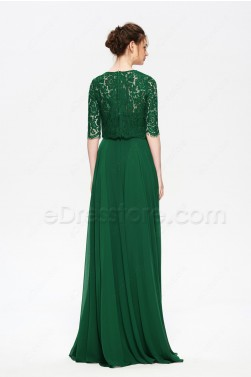 Emerald Green Modest Prom Dress with Lace Bolero