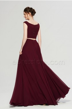 Burgundy Two Piece Long Bridesmaid Dresses
