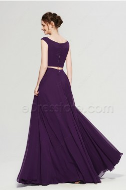 Plum Purple Two Piece Boho Prom Dress
