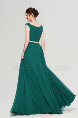 Jade Green Two Piece Boho Bridesmaid Dresses Long