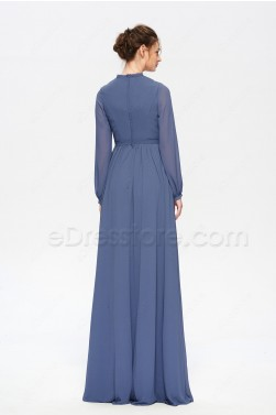 Slate Blue Modest Bridesmaid Dresses Long Sleeves