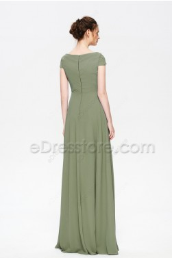 Modest Cowl Neck Dusty Olive Bridesmaid Dresses Cap Sleeves