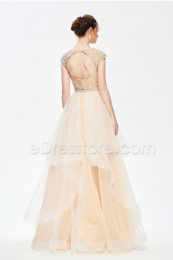 Beaded Two Piece Long Prom Dress with Layered Horsehair