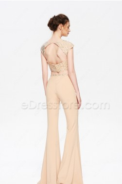 Beaded Champagne Two Piece Jumpsuit Prom Dress Trousers