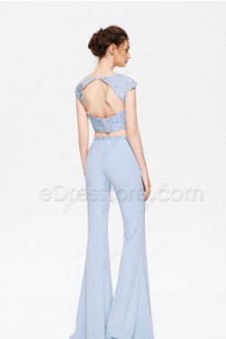 Light Blue Beaded Pantsuit Prom Dresses