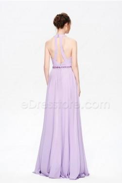Lavender Beaded Halter Backless Long Prom Dresses