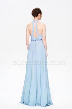 Halter Light Blue Flowing Evening Dress
