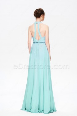 Turquoise Blue Halter Bridesmaid Dresses Long