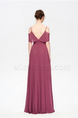 Boho Style Long Maroon Bridesmaid Dresses Spaghetti Straps