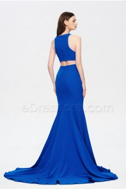 Royal Blue Mermaid Cut Out Prom Dress with Slit