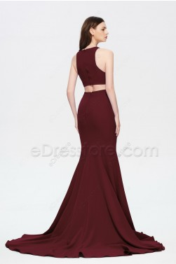 Burgundy Mermaid Slitted Prom Dresses Long