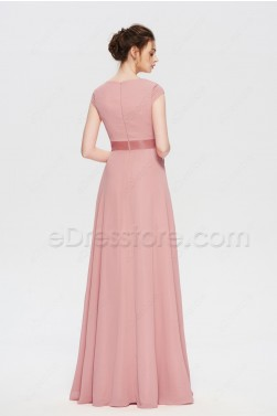 Modest Dusty Rose Mother of the Bride Dresses Cap Sleeves