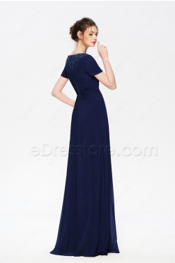 Navy Blue Modest Beaded Bridesmaid Dresses with Sleeves