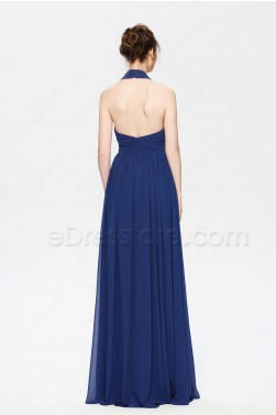 Halter Navy Blue Bridesmaid Dresses Long