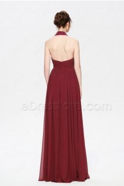 Burgundy Backless Long Prom Dresses