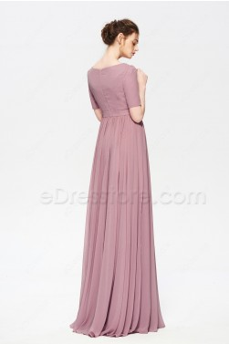 bfba7700084 ... Dusty Rose Color Modest Bridesmaid Dress Elbow Sleeves