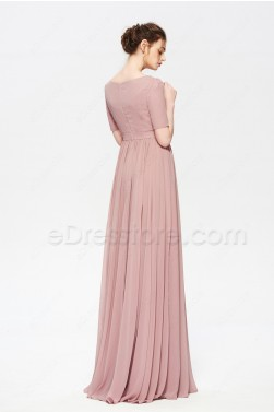 Dusty Rose Modest Beaded Bridesmaid Dress with Slit Short Sleeves