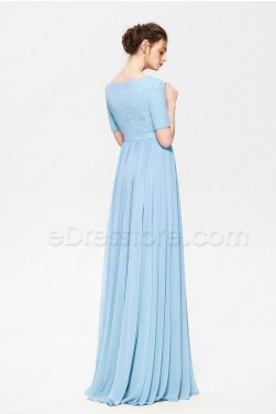 Light Blue Modest Beaded Prom Dress with Slit