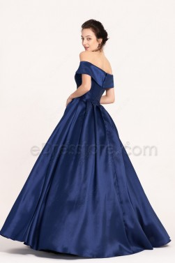 Long Prom Dresses with Side Pockets Vintage Off the Shoulder Navy Blue Prom Gown