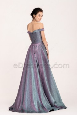 Off the Shoulder Metalic Prom Dresses Two Tone with side pockets