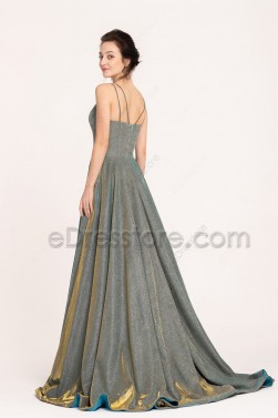 Sparkle Metalic Long Prom Dresses with Slit Spaghetti Straps Side Pockets