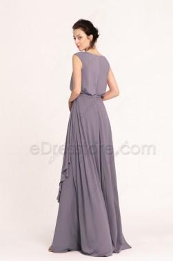 Popover Modest Bridesmaid Dresses Wisteria Grey