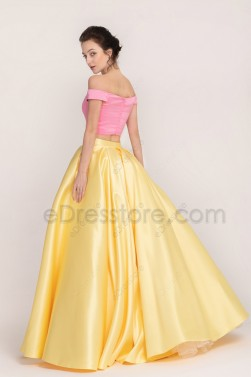 Mix n Match Pink Yellow Long Prom Dresses Ball Gown Two Piece