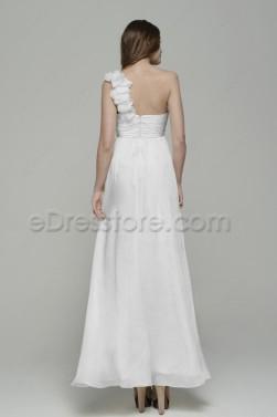 One Shoulder White Maternity Beach Wedding Dresses for Pregnant