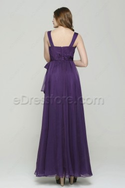 Purple Long Evening Dresses with See Through Skirt