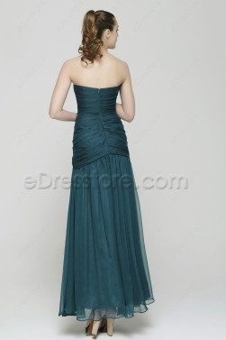 Trumpet Dark Green Long Evening Gowns with Overlay