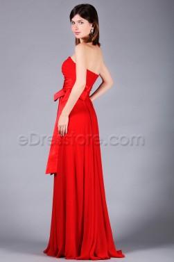 Strapless Red Chiffon Formal Dresses